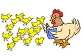 Graphic of hen reading to chicks