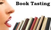 "Graphic of woman ""tasting"" row of books"