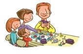 Graphic of mother, father and two children plays a board game