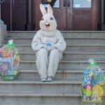 Easter Bunny on the steps of the Carnegie Library