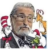 Photo of Dr. Seuss surrounded by cartoon characters