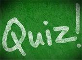 Quiz! written on chalkboard