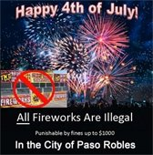 All Fireworks are Illegal in the City of Paso Robles