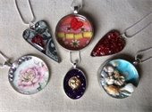 array of resin necklaces