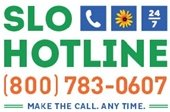 SLO Hotline logo and phone number