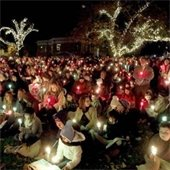 Crowd in the park with candles