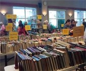 People shopping at the book sale