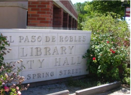 Paso Robles City Library building signage