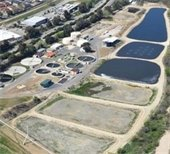 Aerial of wastewater treatment plant