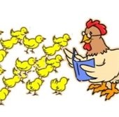 Hen reading to large group of chicks