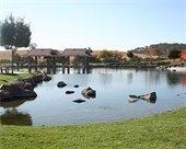 Barney Schwartz Park pond an pavilions