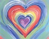 Rainbow heart painting