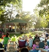 Concert in gazebo with crowd
