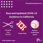 CDPH graphic on personal care, theme parks, outdoor professional sports