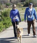Couple in matching jackets walking golden retriever