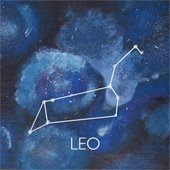 Zodiac constellation of Leo on a blue background