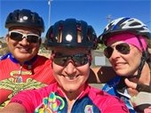 3 cyclist selfie w/helmets and sunglasses