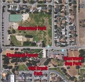 Sherwood Park  area aerial photo with parks named