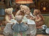 Teddy bears having tea