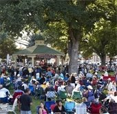 Concerts in the park crowd and gazebo