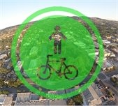 Aerial of Paso with bike/ped icon overlaid