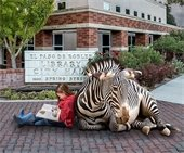 Girl reading in front of library with zebra