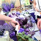 Table at lavender festival