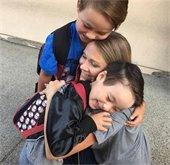 Family hugging