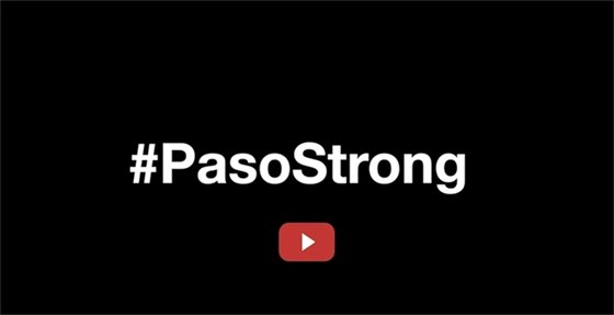 #pasostrong on black background with video arrow