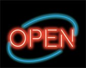 Red and blue neon open sign on a black background