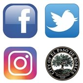 Square with 4 logos inside - Facebook, Twitter, Instagram and City seal