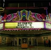 Fremont theater marquee with SLO Film Fest listed with dates and website