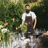 Chef Tim Veatch at outdoor table