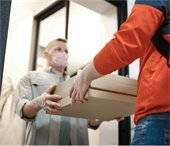 Package delivery, man with mask