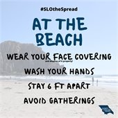 #SLOtheSpread at the beach graphic