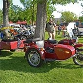 Sidecars and attendees in park