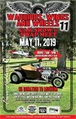 Event poster showing a hot rod and a vintage airplane