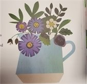 Color drawing of flowers in a vase