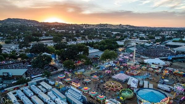 Overview of Paso Robles Fairgrounds at sunset