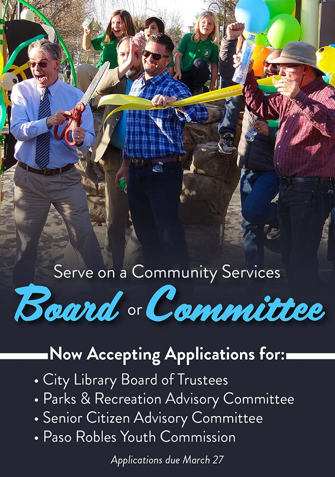 Serve on a Community Services Board or Committee. Applications due March 27.