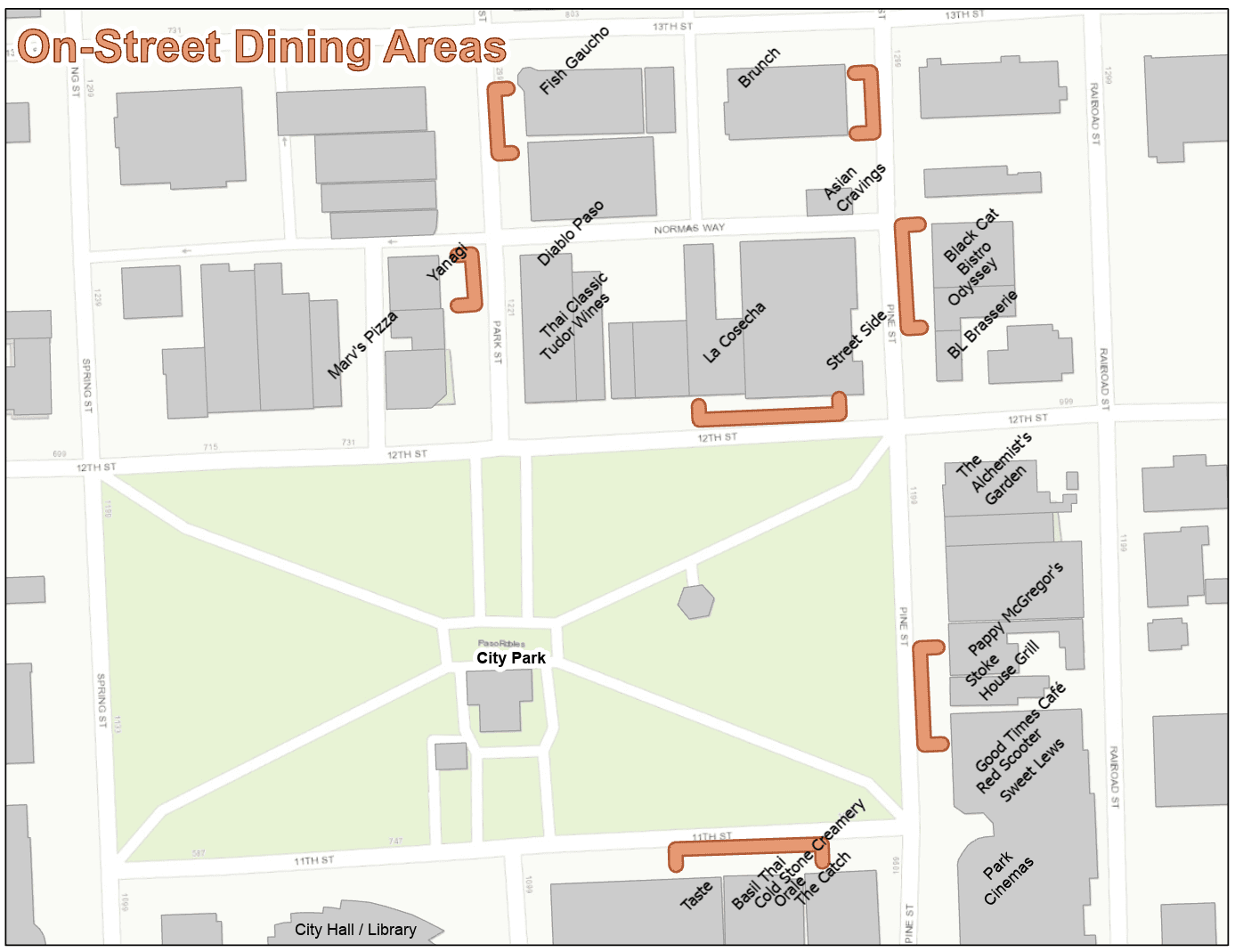 On-street dining map - Phase 2