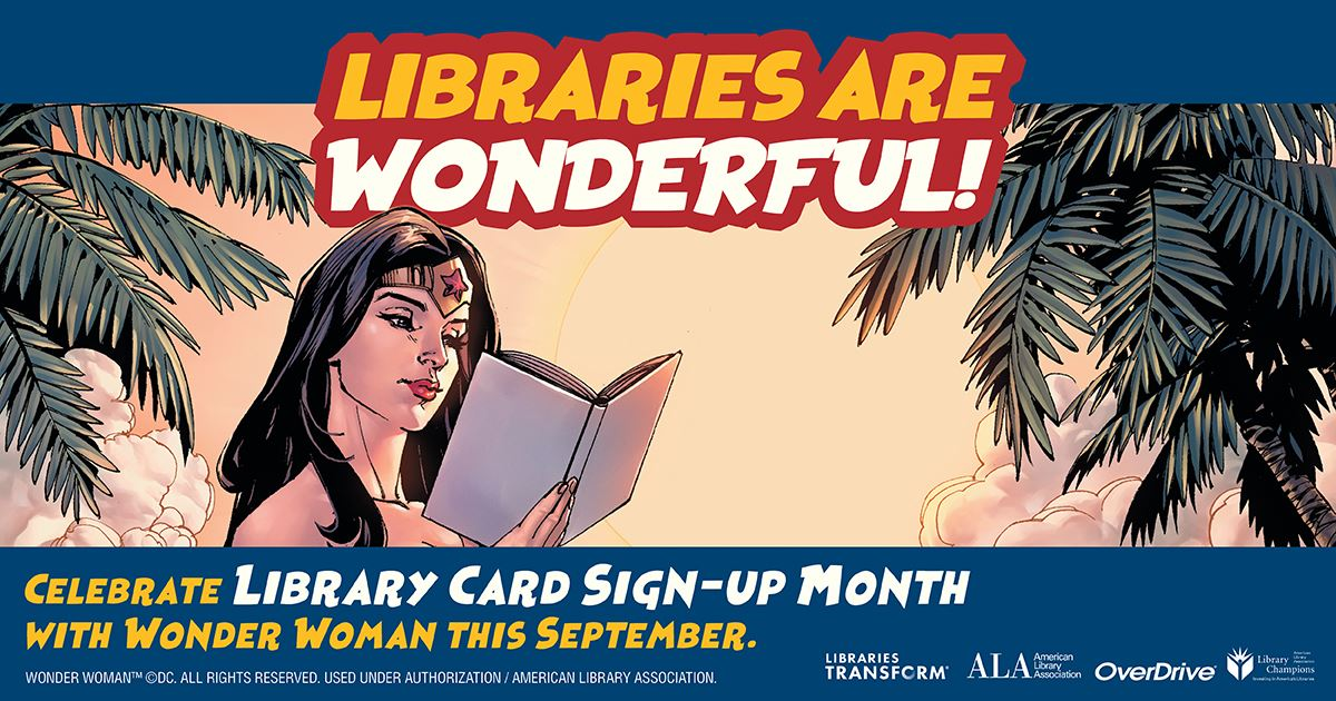 Marvel's Wonder Woman figure promoting libraries