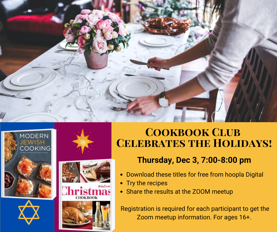 Covers of Christmas and Jewish cookbooks, food