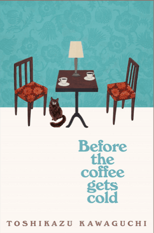 Stylized illustration of table with lamp and two cups with saucers, two chairs with read seats, cat