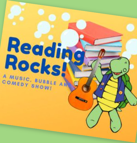 Illustration of green turtle holding orange guitar, stack of books, and bubbles
