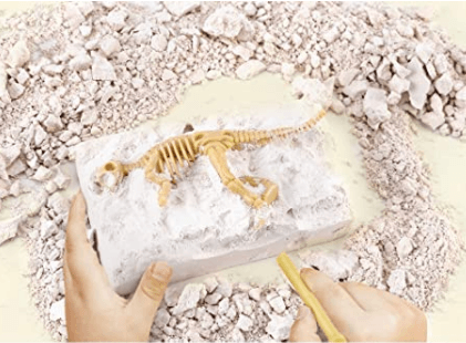 Photo of child's hand brushing particles away from small dinosaur bones embedded in block of clay
