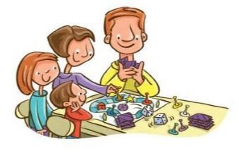 Graphic of family playing board game