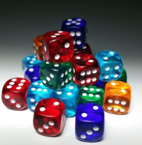 Photo of pile of multicolored dice