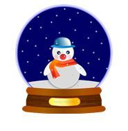 Graphic of white snow man in snow globe with blue, starry background