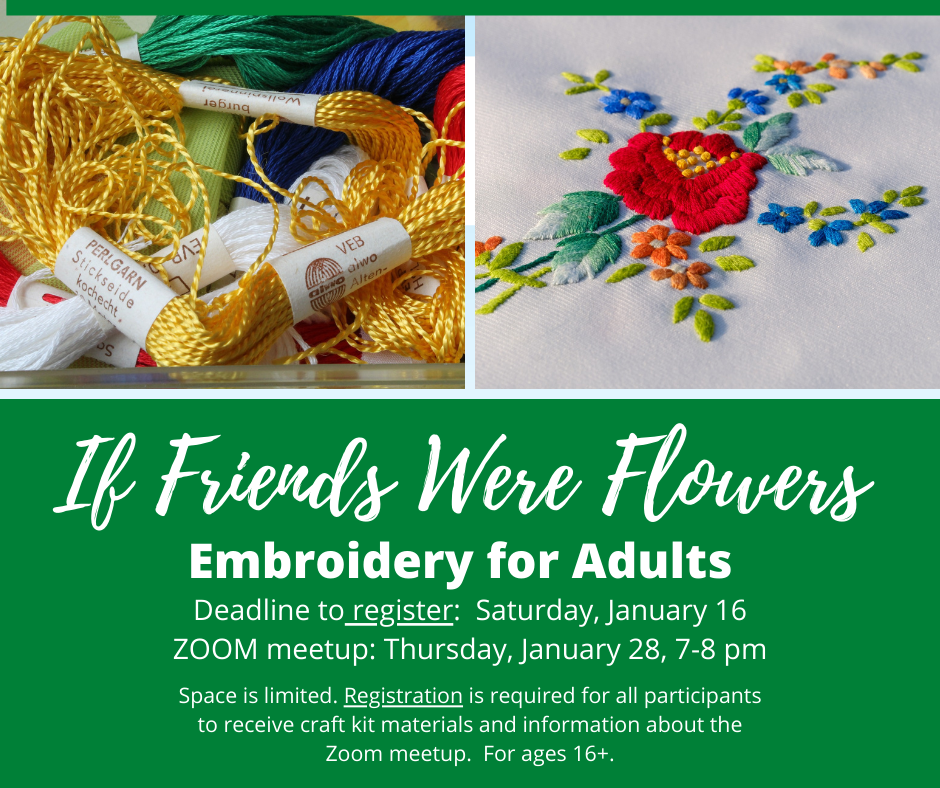 Multicolored embroidery thread, embroidered flower